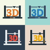 3D printer vector icons set Stock Images