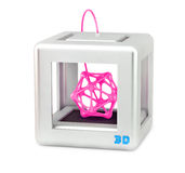 3D printer on white. Stylized 3d printer with abstract figure printed on it royalty free illustration