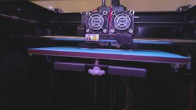 Printing on a 3D printer. Industrial printing on 3D printer. Progressive technology for 3d printing. 3D printer working stock video