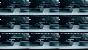 3D printer working. Fused deposition modeling, FDM. 3D printer. Printing an object. Progressive additive technology for 3d printing. Multicam split screen group stock footage