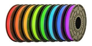 3D printergloeidraden, 3D illustratie Stock Foto