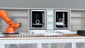 3D printers and robotic arms in production line