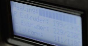 3d printerscherm, terwijl het werken, close-up stock videobeelden