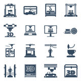 3D Printing Black Contour Icons Collection Royalty Free Stock Photography