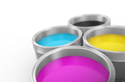 3d printing color cmyk paint bucket. 3d illustration of printing color cmyk cyan, magenta, yellow, and key(black) paint bucket cans Royalty Free Stock Photo