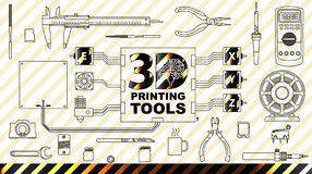 3d printing concept background. Diy and repair. Set Collection tools. the engine, the coil filament, pliers, needle files, pliers, tester, soldering iron Stock Photography