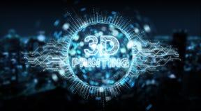 3D printing digital text hologram background 3D rendering stock illustration