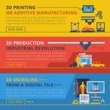 3D Printing Flat Horizontal Banners Set Stock Photos