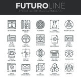 3D Printing Futuro Line Icons Set. Modern thin line icons set of 3D printing, 3D modeling and scanning technology. Premium quality outline symbol collection stock illustration