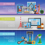 3D Printing Horizontal Banners. With place for text information about modeling program scanning process and printer types  flat vector illustration Royalty Free Stock Photos