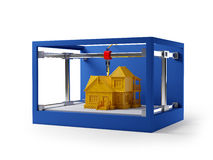 3d printing house. 3d printing of house. Schematic 3d illustration Royalty Free Stock Photos