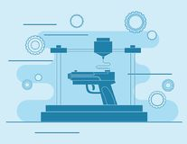 3D printing Icon, 3D modeling weapons. And scanning technology Royalty Free Stock Photos