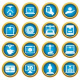 3D Printing icons blue circle set Royalty Free Stock Images