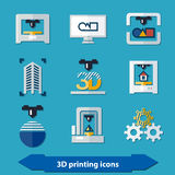 3d printing icons. In flat colors style vector illustration