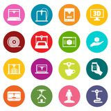 3D Printing icons many colors set. Isolated on white for digital marketing Royalty Free Stock Photos
