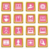 3D Printing icons pink Stock Images