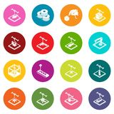 3d printing icons set colorful circles vector. 3d printing icons set vector colorful circles isolated on white background Stock Image