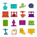 3D Printing icons doodle set Stock Photography