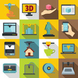 3D Printing icons set, flat style. 3D Printing icons set. Flat illustration of 16 3d Printing vector icons for web Royalty Free Stock Photos