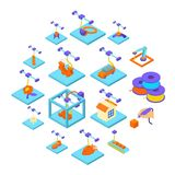 3d printing button icons set, isometric style. 3d printing icons set. Isometric illustration of 16 3d printing icons set vector icons for web Royalty Free Stock Photography