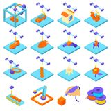 3d printing button icons set, isometric style. 3d printing icons set. Isometric illustration of 16 3d printing icons set vector icons for web Stock Photography
