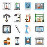 3D Printing Icons Set. Of monitor with software on screen details and consumables for scanners and printers flat vector illustration Stock Photo