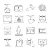 3D Printing icons set, outline style. 3D Printing icons set. Outline illustration of 16 3d Printing vector icons for web Royalty Free Stock Photos