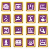 3D Printing icons set purple Royalty Free Stock Image