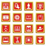 3D Printing icons set red Royalty Free Stock Image