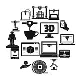 3D Printing icons set, simple style. 3D Printing icons set. Simple illustration of 16 3d Printing vector icons for web Stock Photo