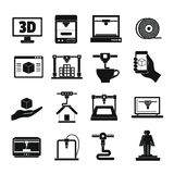 3D Printing icons set, simple style Royalty Free Stock Photography