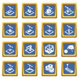 3d printing icons set blue square vector. 3d printing icons set vector blue square isolated on white background Stock Images