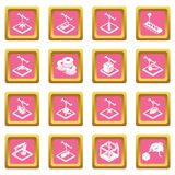 3d printing icons set pink square vector. 3d printing icons set vector pink square isolated on white background Royalty Free Stock Photo
