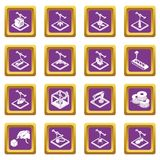 3d printing icons set purple square vector. 3d printing icons set vector purple square isolated on white background Royalty Free Stock Photography