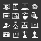 3D Printing icons set grey vector. 3D Printing icons set vector white isolated on grey background Royalty Free Stock Images