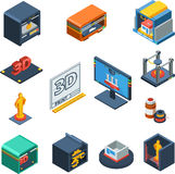 3D Printing Isometric Icons Collection Royalty Free Stock Photo