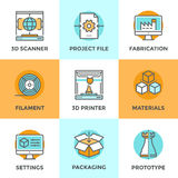 3D Printing line icons set. Line icons set with flat design elements of 3D printing technology, modeling and scanning objects for build new models, filament and Royalty Free Stock Photography