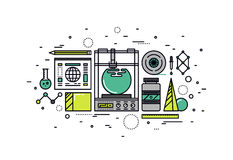 3D printing line style illustration Stock Photo