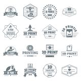 3d printing logo icons set, simple style Stock Images
