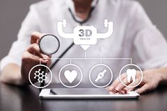 3d printing in modern medical technology. Bioprinting, prosthetics. 3d printing in modern medical technology. Bioprinting, prosthetics stock photo