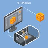 3D printing process concept vector illustration. 3D printing process concept isometric vector illustration. Technology of manufacturing and prototype. Process of Stock Photography