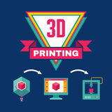 3D Printing Process - Creative Vector Illustration Stock Photo