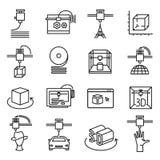 3d printing symbol, three dimensional line icon set stock illustration