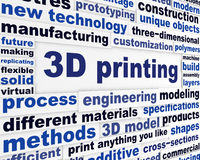 3d printing technical word clouds Royalty Free Stock Photo