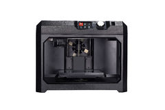3D printing technology. Creative 3D ABS plastic printing technology business concept: modern 3D printer and professional desktop workstation computer PC with 3D Royalty Free Stock Photos