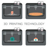 3D printing technology. 3d printing house, bodies, pizza, plastic models. 3 D printer. Vector illustration Royalty Free Stock Photos