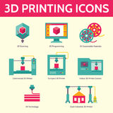 3D Printing Vector Icons in Flat Design Style Stock Photos