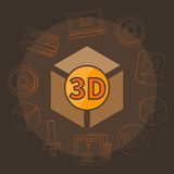 3D printing vector illustration. 3D printing illustration - vector brown 3D print symbol concept or logo template Royalty Free Stock Photography