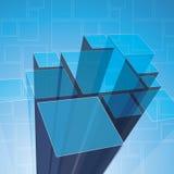 3D Prism Background Template. 3D Blue Transparent Prism Structure Background Template Royalty Free Stock Photos