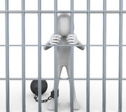 3D Prisoner Jailed in Cell. Isolated on white background Royalty Free Stock Photo